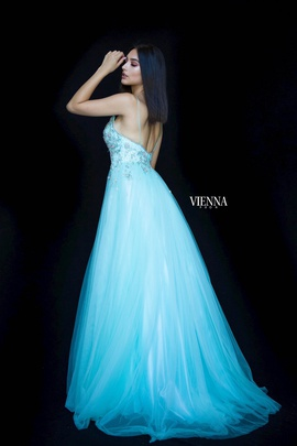 Style 7835 Vienna Green Size 6 Backless Tall Height Side slit Dress on Queenly