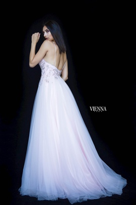 Style 7835 Vienna Pink Size 6 Backless Tall Height Side slit Dress on Queenly