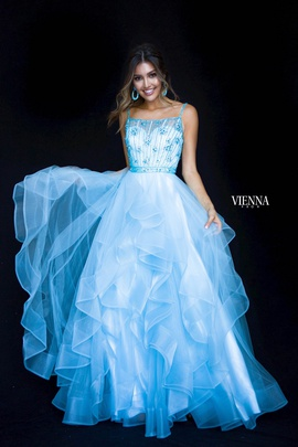 Style 7836 Vienna Blue Size 0 Backless Sheer Ball gown on Queenly