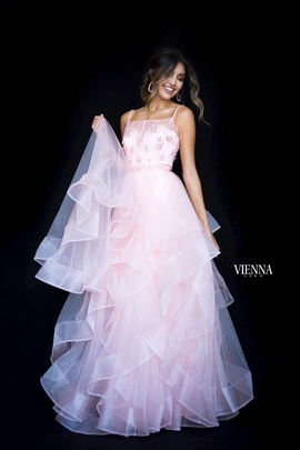 Style 7836 Vienna Pink Size 4 Tall Height Sheer Ball gown on Queenly