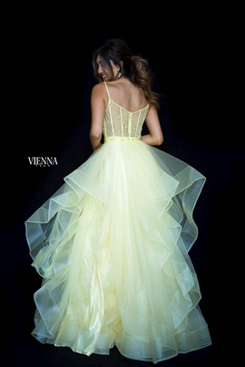Style 7836 Vienna Yellow Size 0 Tulle Sheer Ball gown on Queenly