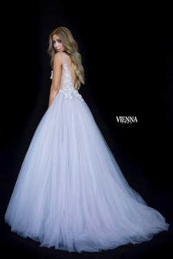Style 7838 Vienna Purple Size 00 Sheer Plunge Lace Ball gown on Queenly