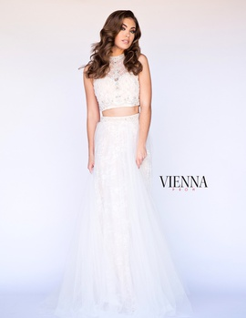 Style 7904 Vienna White Size 6 Tulle Sheer Two Piece Ball gown on Queenly