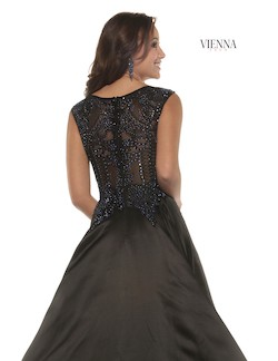 Style 7906 Vienna Black Size 2 Boat Neck Tall Height A-line Dress on Queenly