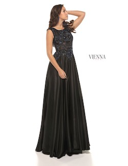 Style 7906 Vienna Black Size 12 Pageant Boat Neck Tall Height A-line Dress on Queenly