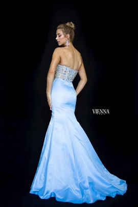 Style 82001 Vienna Blue Size 4 Sweetheart Tall Height Mermaid Dress on Queenly
