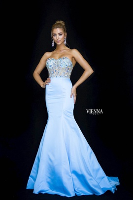 Style 82001 Vienna Blue Size 10 Sweetheart Tall Height Mermaid Dress on Queenly