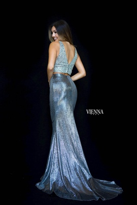 Style 82010 Vienna Silver Size 10 Halter Backless Tall Height Mermaid Dress on Queenly