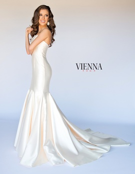 Style 8252 Vienna Gold Size 4 Train Tall Height Mermaid Dress on Queenly