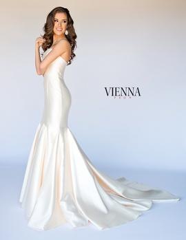 Style 8252 Vienna Gold Size 20 Silk Train Mermaid Dress on Queenly