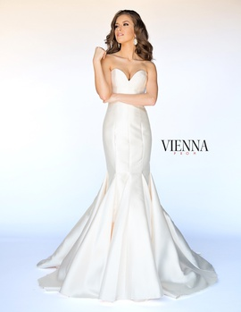 Style 8252 Vienna Gold Size 20 Train Strapless Plus Size Mermaid Dress on Queenly