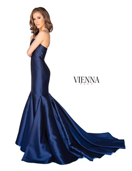 Style 8252 Vienna Blue Size 12 Plus Size Train Tall Height Mermaid Dress on Queenly