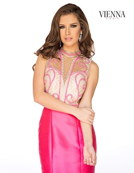 Style 8255 Vienna Pink Size 4 Tall Height Sheer Mermaid Dress on Queenly
