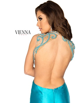 Style 8255 Vienna Blue Size 2 Tall Height Sheer Mermaid Dress on Queenly