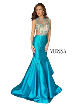 Style 8255 Vienna Blue Size 12 Backless Tall Height Sheer Mermaid Dress on Queenly