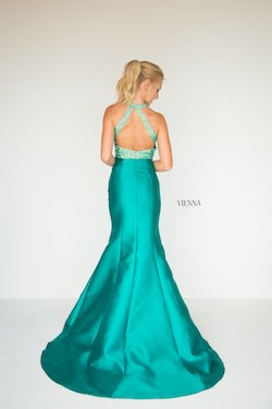 Style 8281 Vienna Green Size 12 Tall Height Sequin Mermaid Dress on Queenly