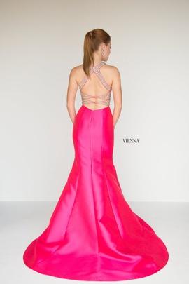 Style 8282 Vienna Pink Size 8 Belt Plunge Mermaid Dress on Queenly