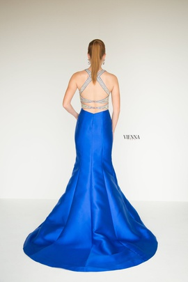 Style 8282 Vienna Blue Size 12 Halter Backless Tall Height Mermaid Dress on Queenly