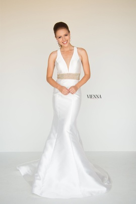 Style 8282 Vienna White Size 10 Halter Backless Tall Height Mermaid Dress on Queenly