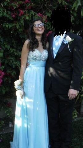 La Femme Blue Size 0 Overskirt Plunge A-line Dress on Queenly