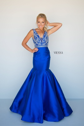 Style 8283 Vienna Blue Size 12 Backless Tall Height Mermaid Dress on Queenly