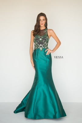 Style 8284 Vienna Green Size 0 Sheer Mermaid Dress on Queenly