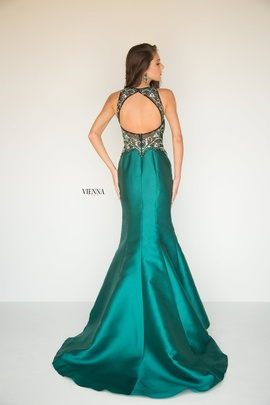 Style 8284 Vienna Green Size 2 Sheer Mermaid Dress on Queenly