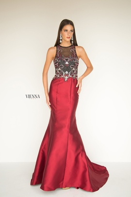 Style 8284 Vienna Red Size 6 Burgundy Sheer Mermaid Dress on Queenly