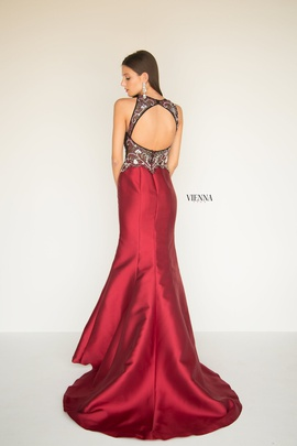 Style 8284 Vienna Red Size 12 Backless Tall Height Sheer Mermaid Dress on Queenly