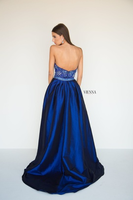 Style 8287 Vienna Blue Size 14 Navy Sequin Train Dress on Queenly