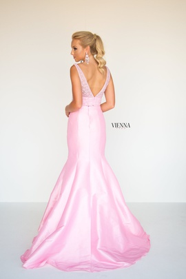 Style 8288 Vienna Light Pink Size 8 Two Piece Plunge Mermaid Dress on Queenly
