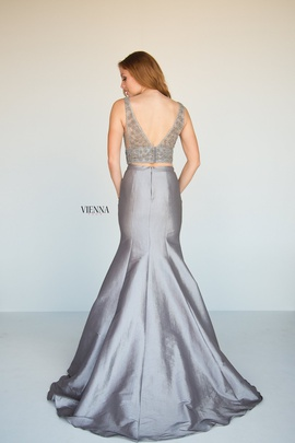 Style 8288 Vienna Silver Size 00 Two Piece Plunge Backless Mermaid Dress on Queenly