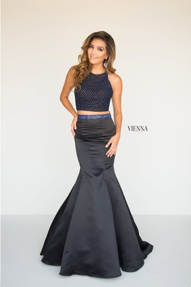 Style 8291 Vienna Black Size 8 Backless Tall Height Mermaid Dress on Queenly