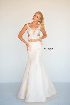 Style 8292 Vienna Gold Size 00 Cut Out Plunge Two Piece Mermaid Dress on Queenly