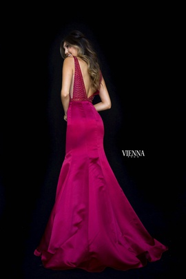 Style 8295 Vienna Red Size 10 Pageant Backless Tall Height Mermaid Dress on Queenly