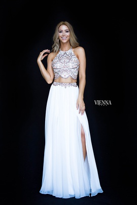 Style 8307 Vienna White Size 4 Tulle Tall Height Straight Dress on Queenly
