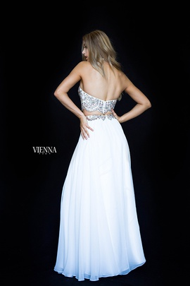 Style 8307 Vienna White Size 6 Halter Two Piece Straight Dress on Queenly