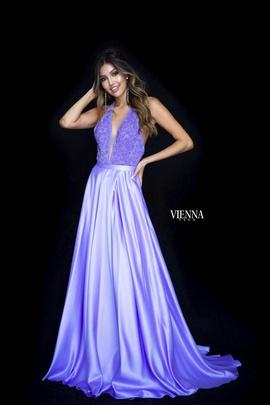 Style 8308 Vienna Purple Size 00 Plunge Side slit Dress on Queenly