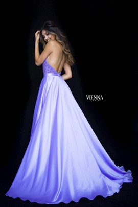 Style 8308 Vienna Purple Size 6 Backless Tall Height Side slit Dress on Queenly