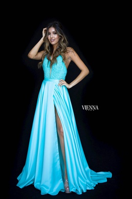 Style 8308 Vienna Blue Size 6 Halter Backless Tall Height Side slit Dress on Queenly