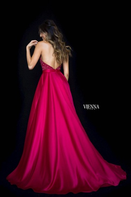 Style 8308 Vienna Red Size 00 Plunge Side slit Dress on Queenly