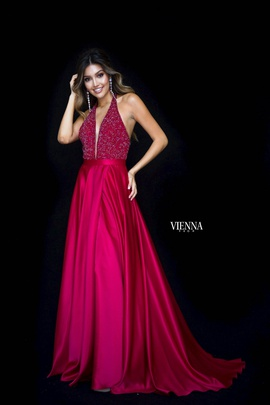 Style 8308 Vienna Red Size 8 Plunge Side slit Dress on Queenly