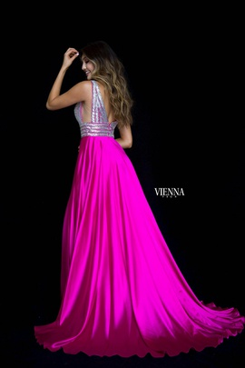 Style 8309 Vienna Pink Size 0 Train Plunge Side slit Dress on Queenly