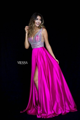 Queenly size 4 Vienna Pink Side slit evening gown/formal dress