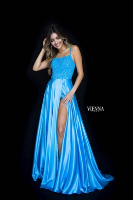 Style 8311 Vienna Blue Size 2 Train Tall Height Side slit Dress on Queenly