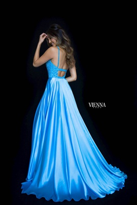 Style 8311 Vienna Blue Size 4 Train Tall Height Side slit Dress on Queenly