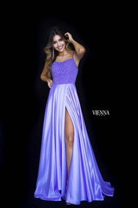 Style 8311 Vienna Purple Size 0 Tall Height Side slit Dress on Queenly