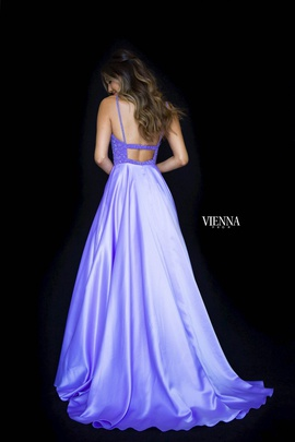 Style 8311 Vienna Purple Size 10 Train Tall Height Side slit Dress on Queenly