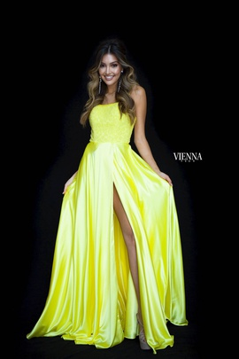 Style 8311 Vienna Yellow Size 00 Tall Height Sequin Cut Out Side slit Dress on Queenly