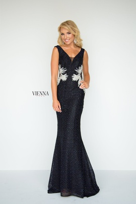 Style 8904 Vienna Black Size 6 Backless Tall Height Mermaid Dress on Queenly
